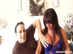 XXX x videos category milf (330 sec). Fat cougar plays with her tits and fucks fit guy.