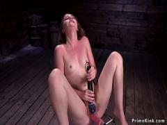 Adult x videos category sex_toys (308 sec). Solo brunette in doggy bangs machine.