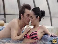 Super erotic category teen (457 sec). OLD4K. Old and young lovers have awesome sex after relax in jacuzzi.