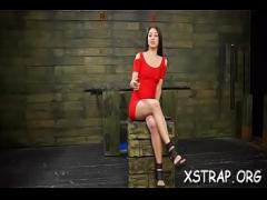 Nice sexual video category bdsm (307 sec). Lustful brunette hair enjoys brutal fuck with enormous strapon.
