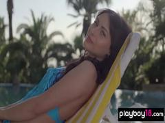 Cool hub video category sexy (307 sec). Perfect ukranian babe Noemi Moon stripping by the pool.