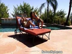 Adult video category lesbian (360 sec). Lesbian babes in bikinis toying outdoors.